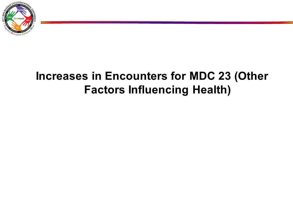 Increases in Encounters for MDC 23 (Other Factors Influencing Health)