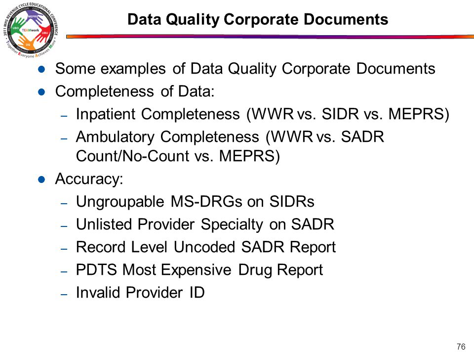 Data Quality Corporate Documents Some examples of Data Quality Corporate Documents Completeness of Data: – Inpatient Completeness (WWR vs.