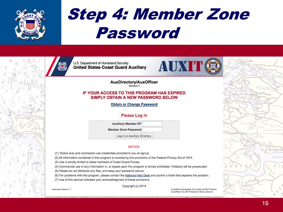 Step 4: Member Zone Password 15 http://ntc.cgaux.org/
