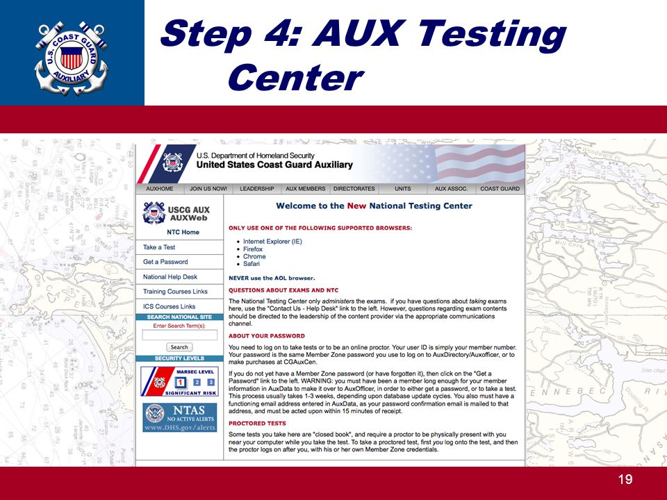 Step 4: AUX Testing Center 19 http://ntc.cgaux.org/