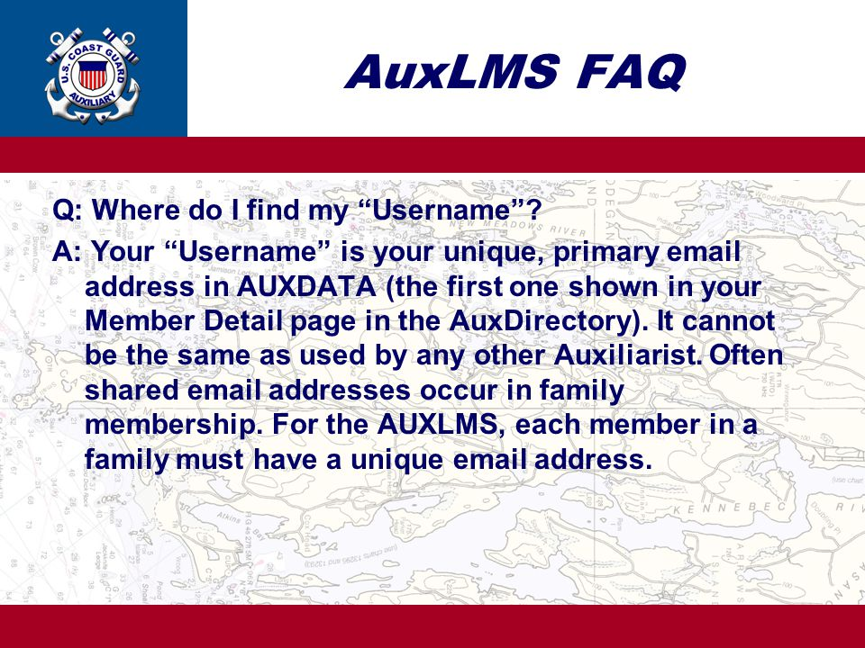 AuxLMS FAQ Q: Where do I find my Username .