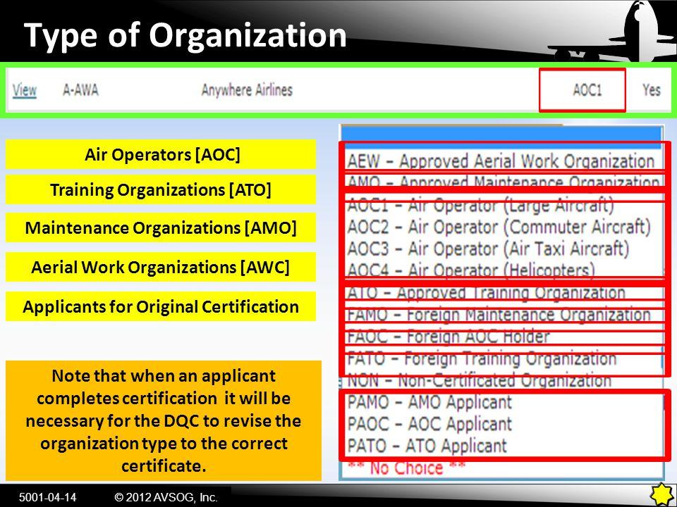Type of Organization 5001-04-14© 2012 AVSOG, Inc. Air Operators [AOC] Training Organizations [ATO] Maintenance Organizations [AMO] Aerial Work Organiz