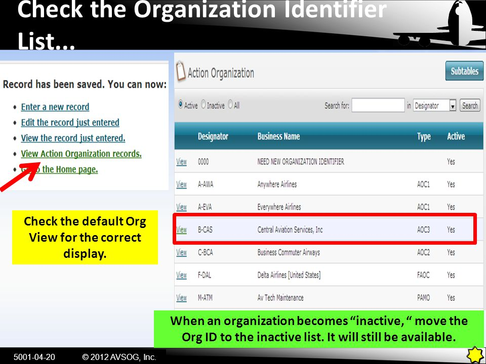 Check the Organization Identifier List... 5001-04-20© 2012 AVSOG, Inc. Check the default Org View for the correct display. When an organization become