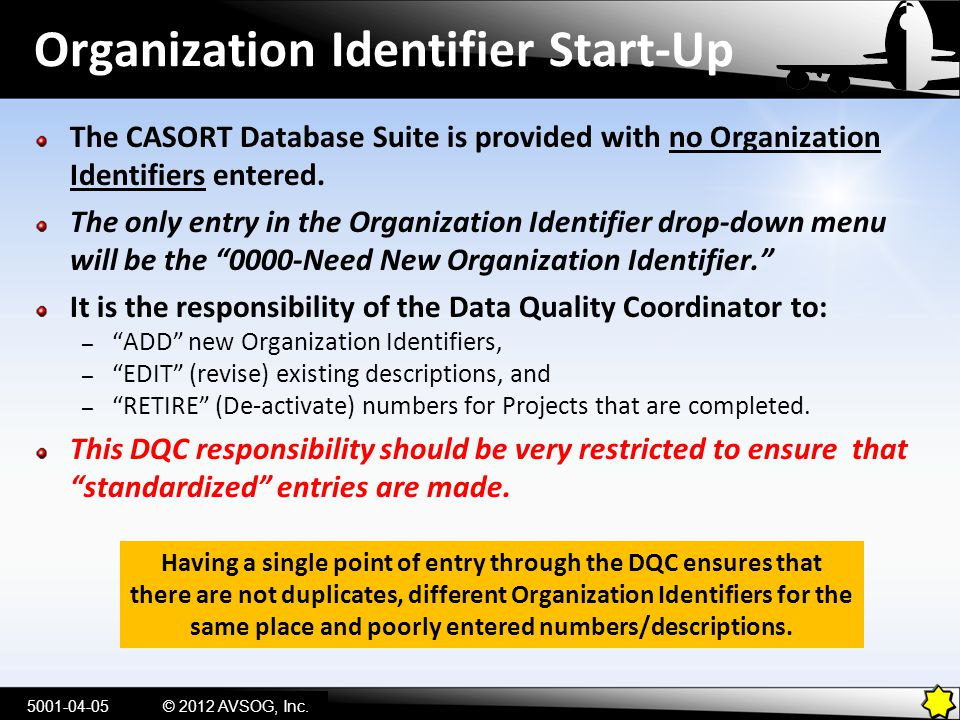 Organization Identifier Start-Up The CASORT Database Suite is provided with no Organization Identifiers entered. The only entry in the Organization Id