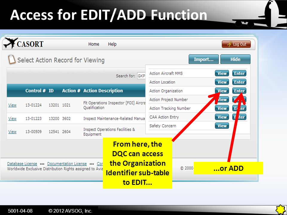 Access for EDIT/ADD Function Select View (CAA Actions) Select Subtables From here, the DQC can access the Organization Identifier sub-table to EDIT...