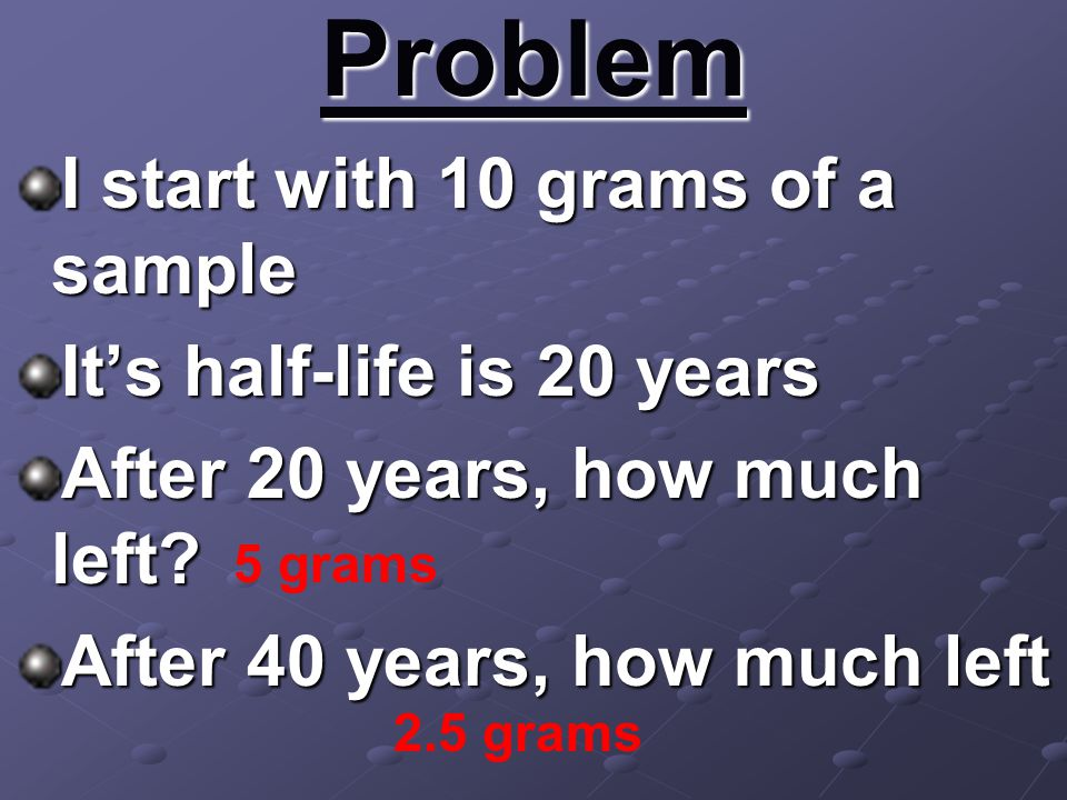 Problem I start with 10 grams of a sample It's half-life is 20 years After 20 years, how much left? After 40 years, how much left 5 grams 2.5 grams
