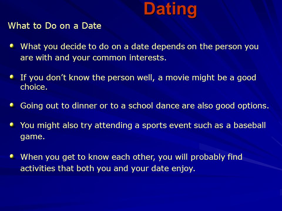 Sports or Athletic Activities Dating You can consider a date that includes athletic activities such as horseback riding, cycling, hiking, and bowling.