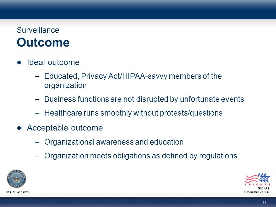 TRICARE Management Activity HEALTH AFFAIRS 11 Surveillance Outcome Ideal outcome − Educated, Privacy Act/HIPAA-savvy members of the organization − Business functions are not disrupted by unfortunate events − Healthcare runs smoothly without protests/questions Acceptable outcome − Organizational awareness and education − Organization meets obligations as defined by regulations