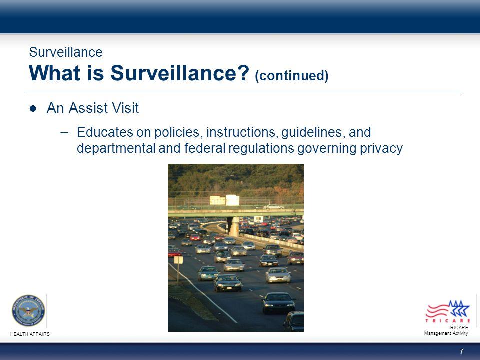 TRICARE Management Activity HEALTH AFFAIRS 8 Surveillance What is Surveillance.