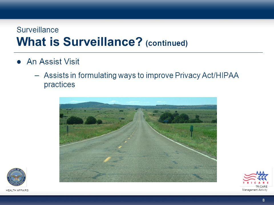 TRICARE Management Activity HEALTH AFFAIRS 9 Surveillance What is Surveillance.