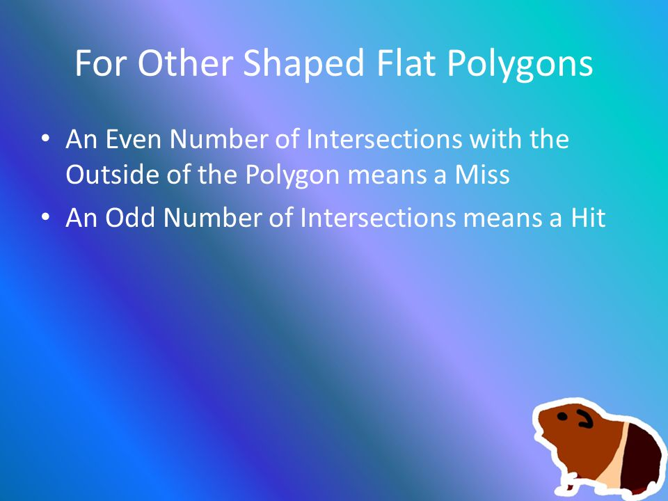 For Other Shaped Flat Polygons An Even Number of Intersections with the Outside of the Polygon means a Miss An Odd Number of Intersections means a Hit
