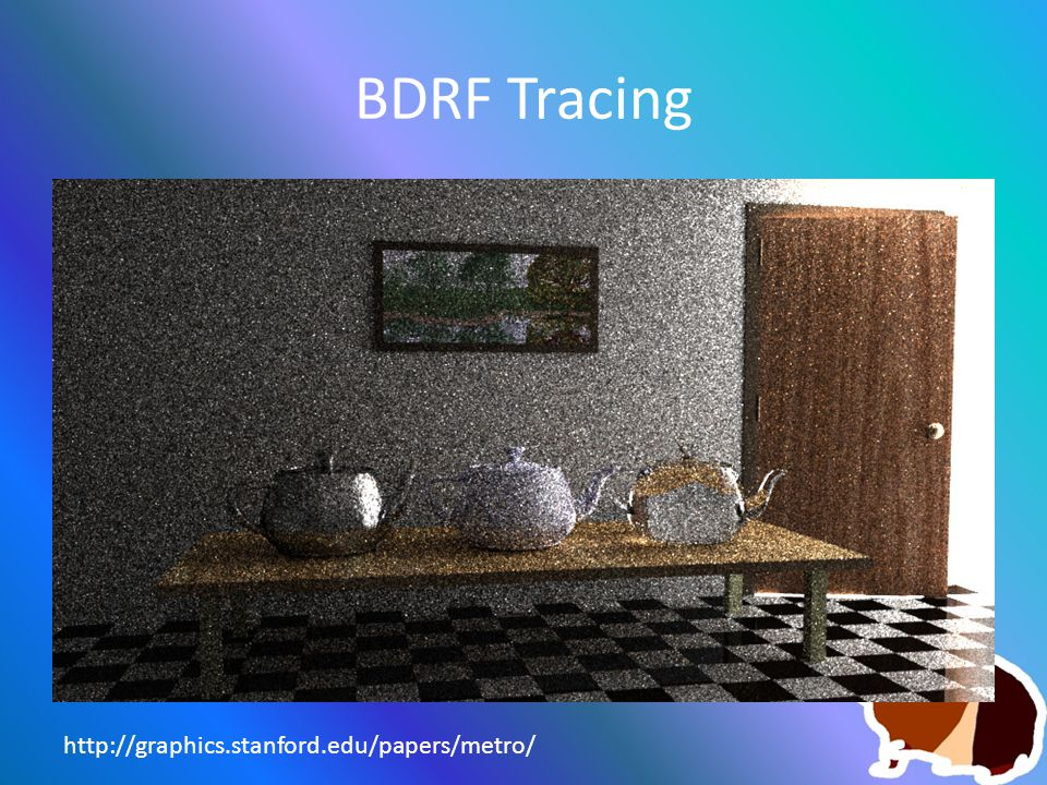BDRF Tracing http://graphics.stanford.edu/papers/metro/