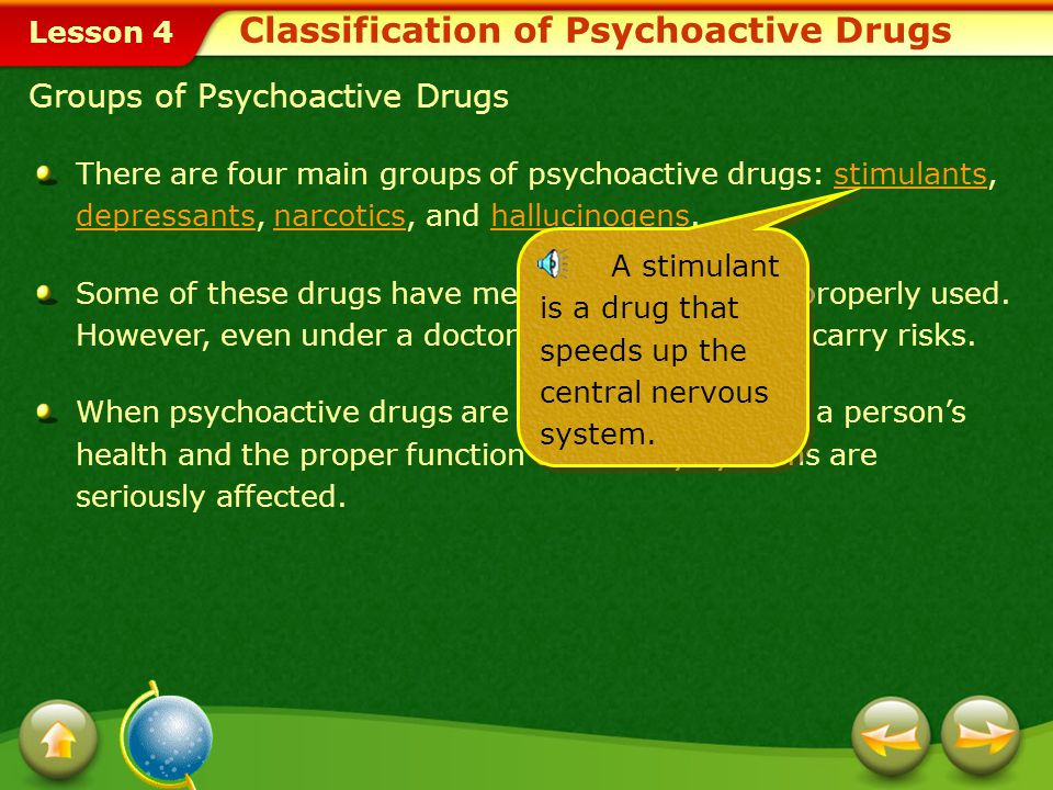 Lesson 4 Understanding Psychoactive Drugs The central nervous system (CNS), which includes the brain and the spinal cord, is an amazingly complex part