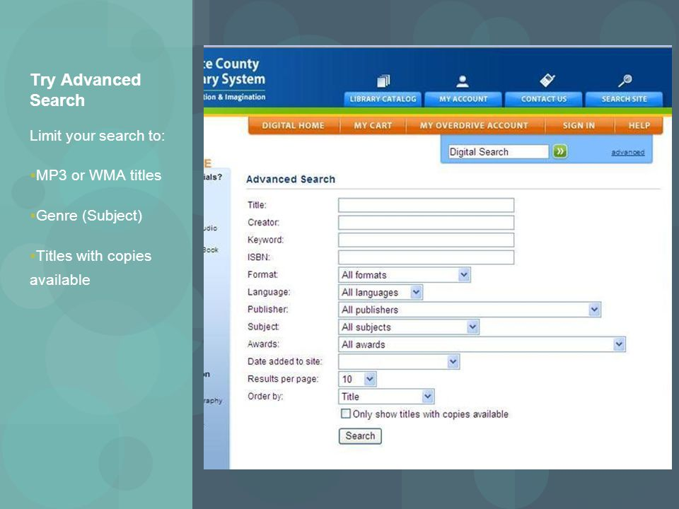 Try Advanced Search Limit your search to:  MP3 or WMA titles  Genre (Subject)  Titles with copies available