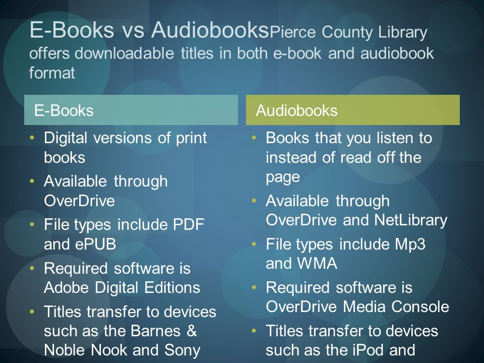 E-Books Digital versions of print books Available through OverDrive File types include PDF and ePUB Required software is Adobe Digital Editions Titles transfer to devices such as the Barnes & Noble Nook and Sony eReader Books that you listen to instead of read off the page Available through OverDrive and NetLibrary File types include Mp3 and WMA Required software is OverDrive Media Console Titles transfer to devices such as the iPod and Zune E-Books vs Audiobooks Pierce County Library offers downloadable titles in both e-book and audiobook format Audiobooks