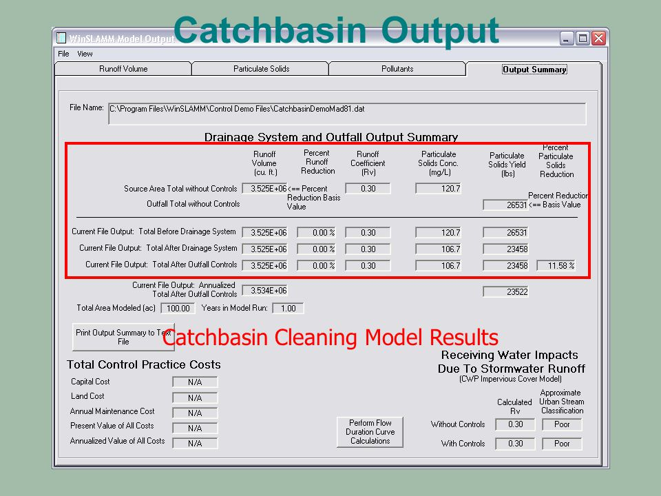 Catchbasin Cleaning Model Results Catchbasin Output