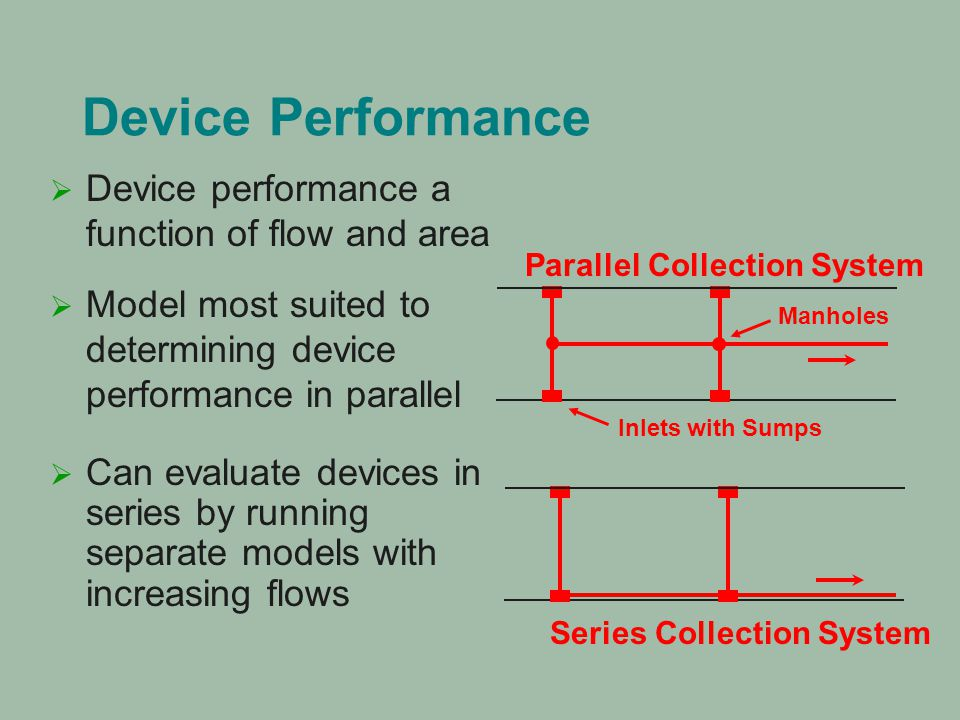 Device Performance   Model most suited to determining device performance in parallel  Can evaluate devices in series by running separate models wit