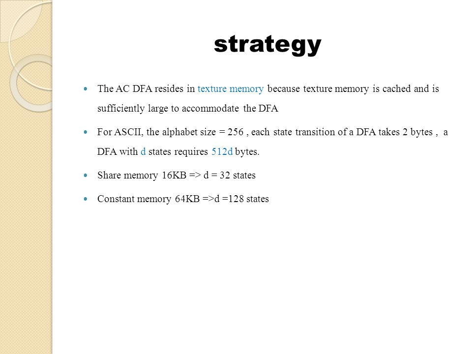 strategy The pseudo code, however, have deficiencies that are expected to result in non-optimal performance on a GPU : 1.