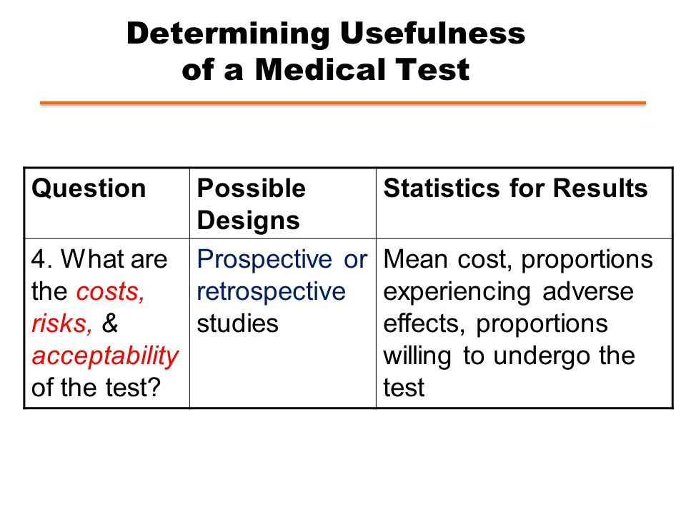 Determining Usefulness of a Medical Test QuestionPossible Designs Statistics for Results 4.