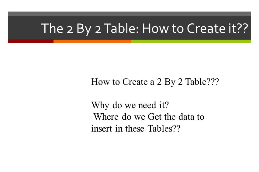 The 2 By 2 Table: How to Create it?. How to Create a 2 By 2 Table??.