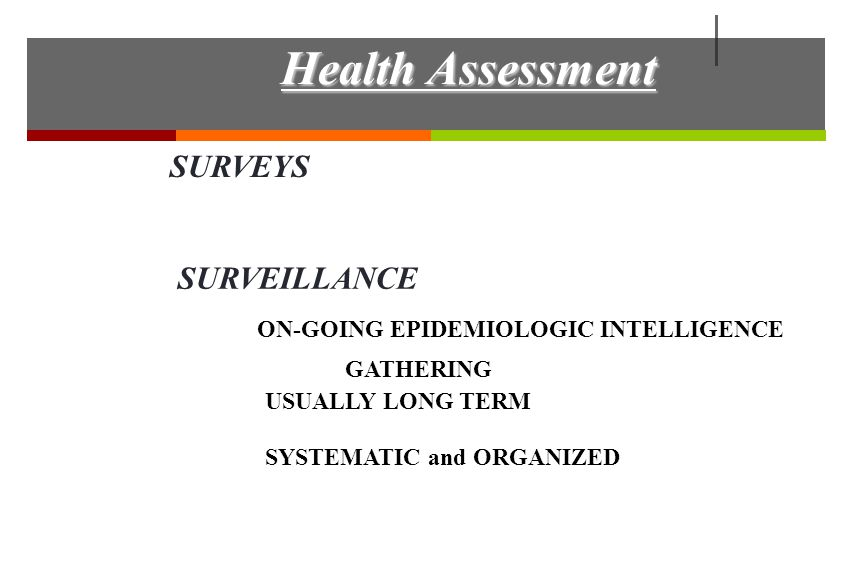 SURVEYS SURVEILLANCE ON-GOING EPIDEMIOLOGIC INTELLIGENCE GATHERING USUALLY LONG TERM SYSTEMATIC and ORGANIZED