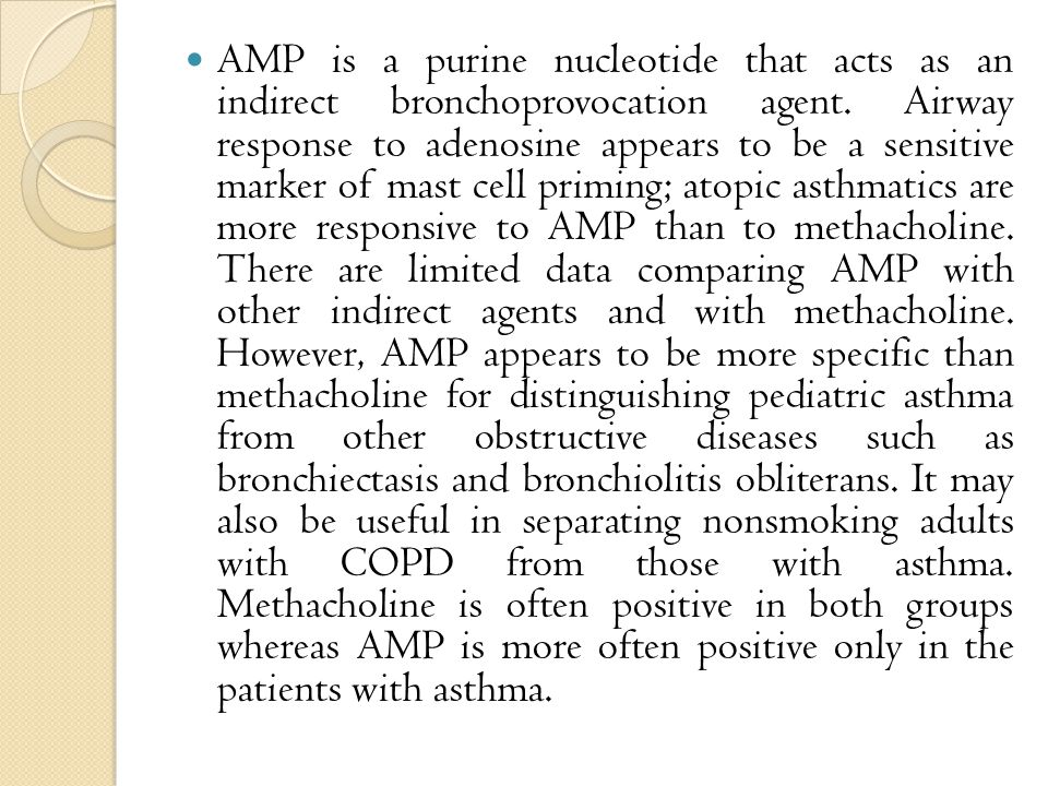 AMP is a purine nucleotide that acts as an indirect bronchoprovocation agent.