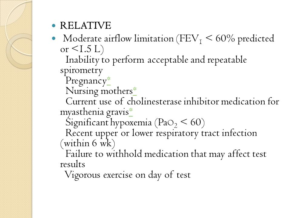 RELATIVE Moderate airflow limitation (FEV 1 < 60% predicted or <1.5 L) Inability to perform acceptable and repeatable spirometry Pregnancy* Nursing mothers* Current use of cholinesterase inhibitor medication for myasthenia gravis* Significant hypoxemia (Pa O 2 < 60) Recent upper or lower respiratory tract infection (within 6 wk) Failure to withhold medication that may affect test results Vigorous exercise on day of test*
