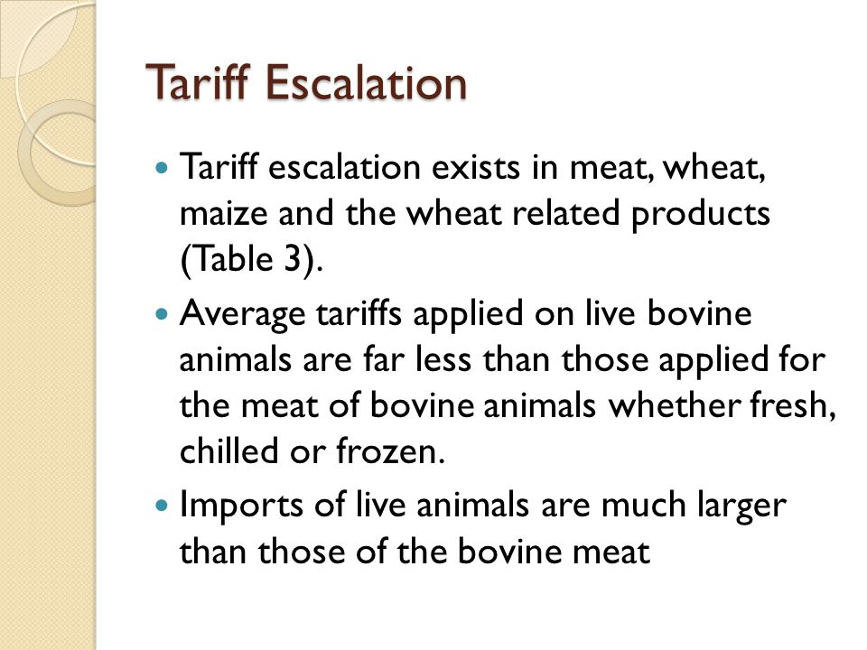 Tariff Escalation Tariff escalation exists in meat, wheat, maize and the wheat related products (Table 3). Average tariffs applied on live bovine anim