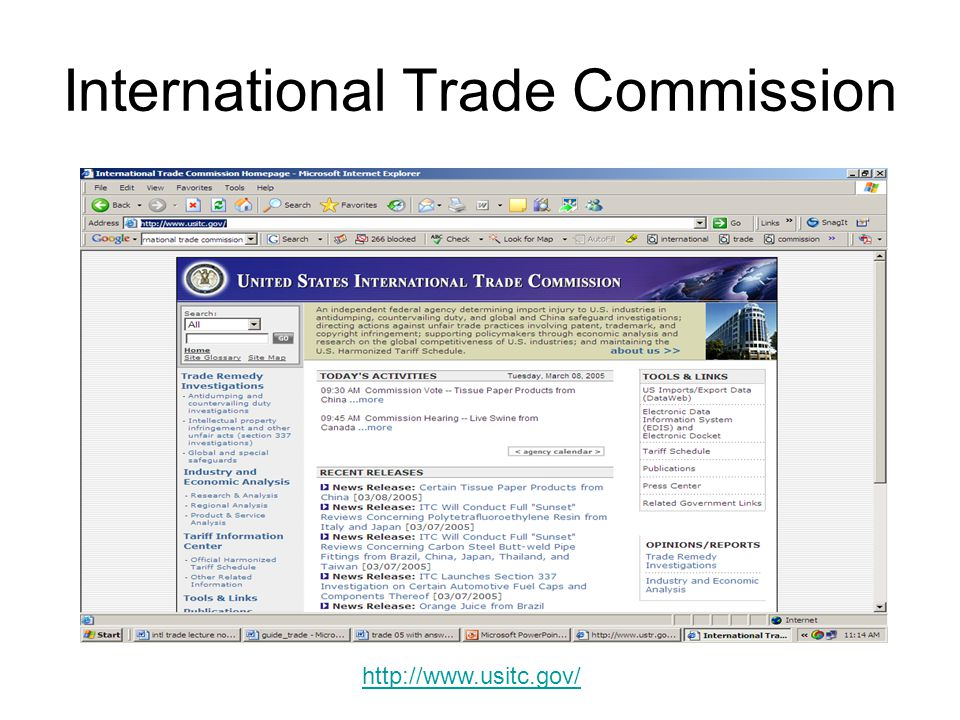 US Trade Representative http://www.ustr.gov/http://www.ustr.gov/ Lists trade agreements the US is a party to.