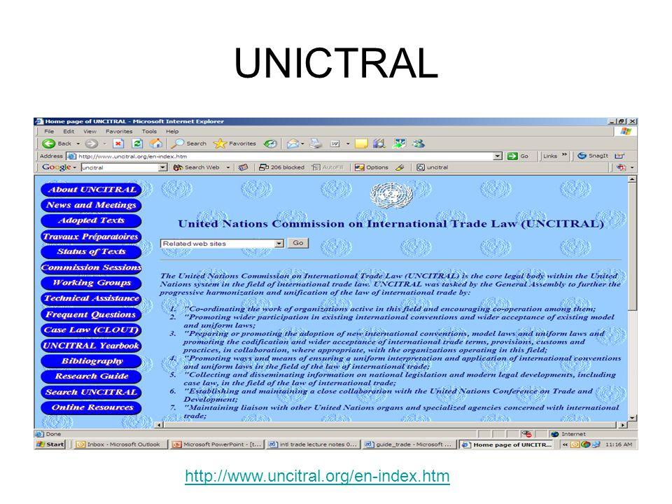 UNICTRAL http://www.uncitral.org/en-index.htm