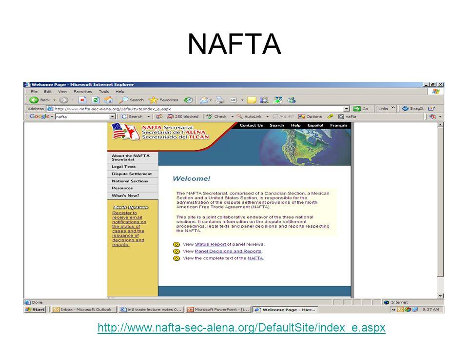 NAFTA http://www.nafta-sec-alena.org/DefaultSite/index_e.aspx