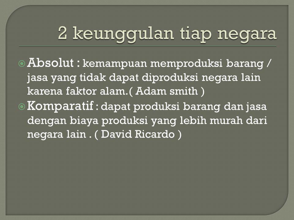  Absolut : kemampuan memproduksi barang / jasa yang tidak dapat diproduksi negara lain karena faktor alam.( Adam smith )  Komparatif : dapat produks
