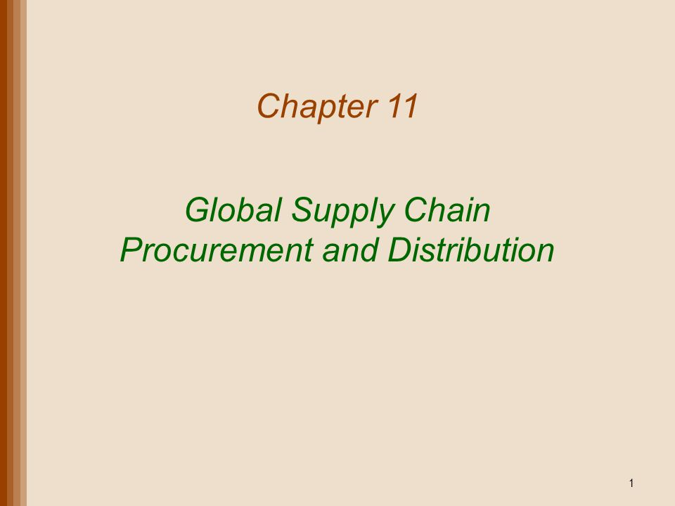 Lecture Outline Procurement E-Procurement Distribution Transportation The Global Supply Chain Copyright 2011 John Wiley & Sons, Inc.11-2
