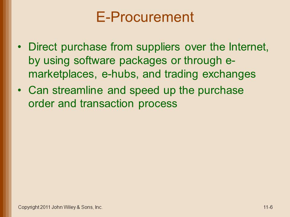 E-Procurement What can companies buy over the Internet.