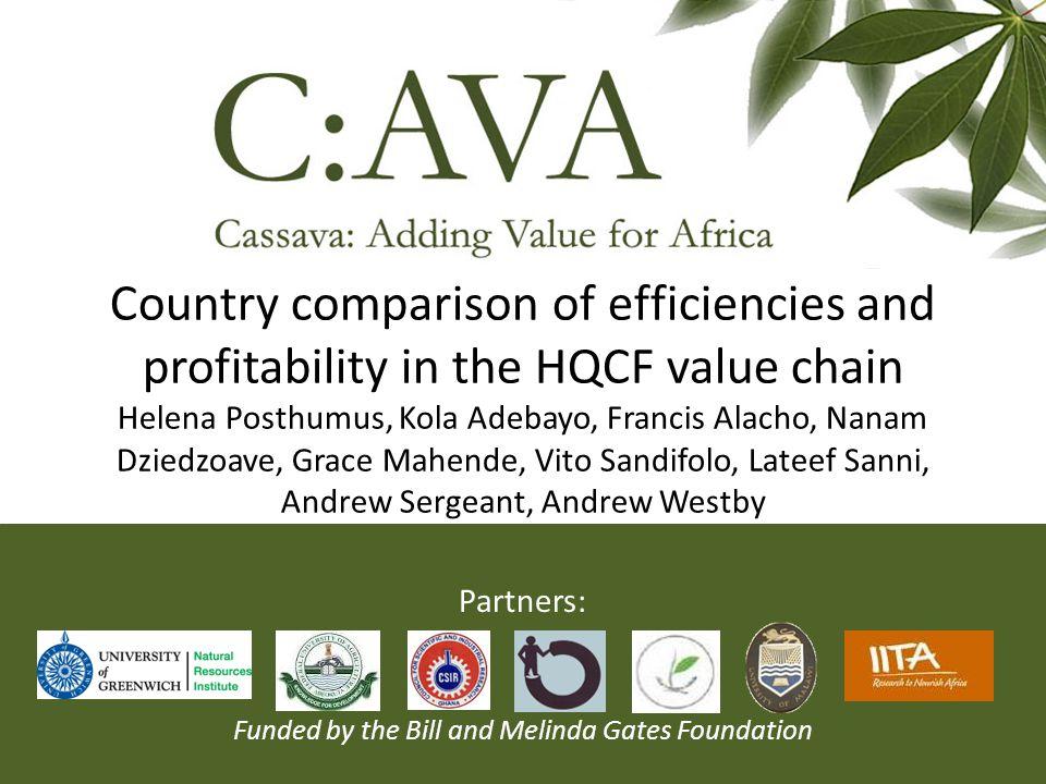 Country comparison of efficiencies and profitability in the HQCF value chain Helena Posthumus, Kola Adebayo, Francis Alacho, Nanam Dziedzoave, Grace M