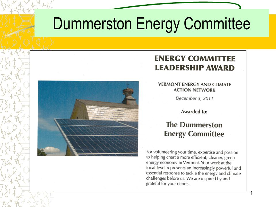 1 Dummerston Energy Committee