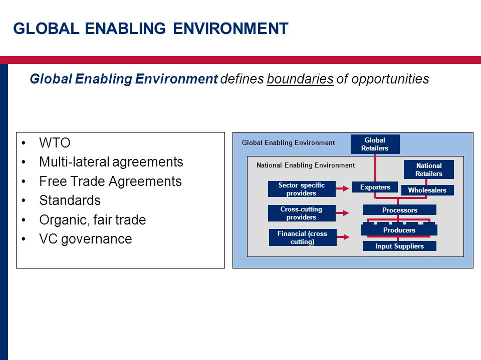 GLOBAL ENABLING ENVIRONMENT Global Enabling Environment defines boundaries of opportunities WTO Multi-lateral agreements Free Trade Agreements Standards Organic, fair trade VC governance Global Enabling Environment National Enabling Environment Financial (cross cutting) Input Suppliers Sector specific providers Cross-cutting providers x Producers Wholesalers Exporters National Retailers Processors Global Retailers