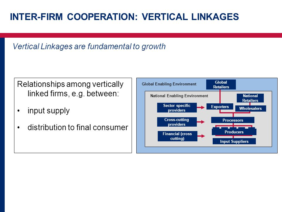 INTER-FIRM COOPERATION: VERTICAL LINKAGES Vertical Linkages are fundamental to growth Relationships among vertically linked firms, e.g.
