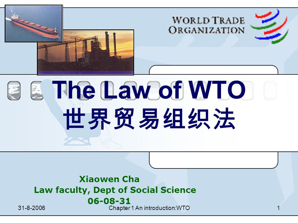 31-8-2006Chapter 1 An introduction:WTO31 Reading assignments 1.