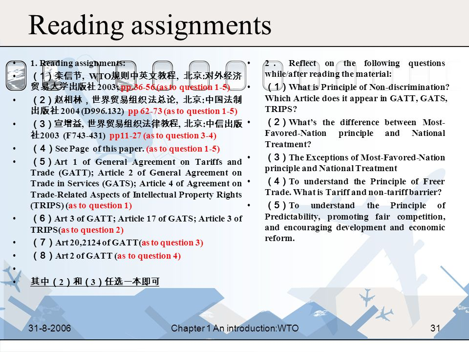 31-8-2006Chapter 1 An introduction:WTO30 CHAPTER 2 PRINCIPLES OF WTO