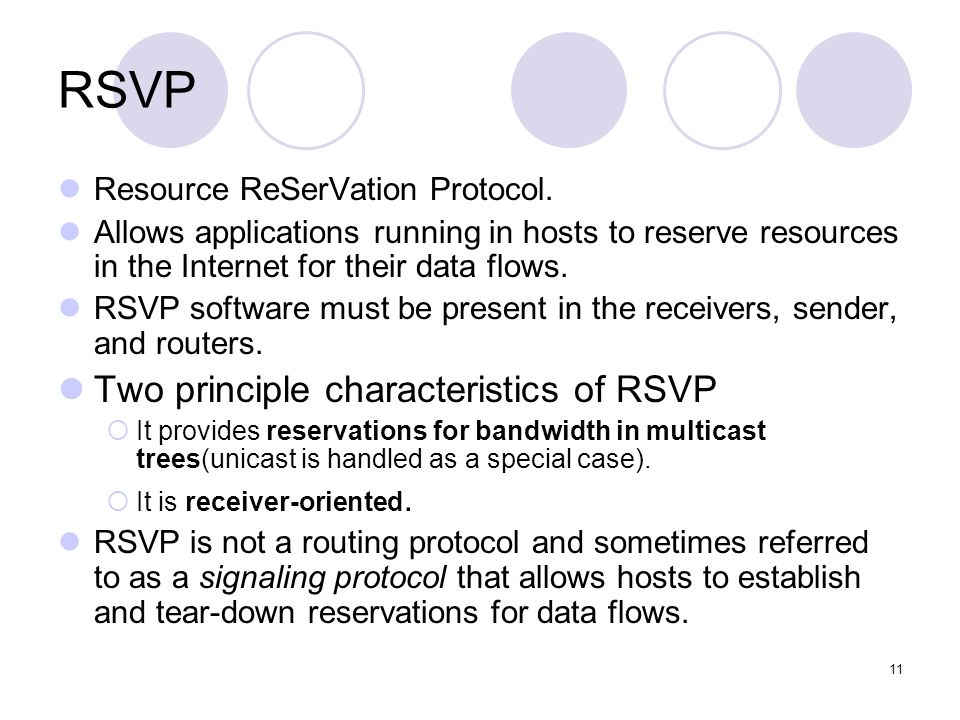 11 RSVP Resource ReSerVation Protocol.
