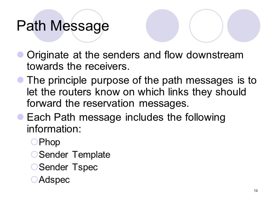 14 Path Message Originate at the senders and flow downstream towards the receivers.