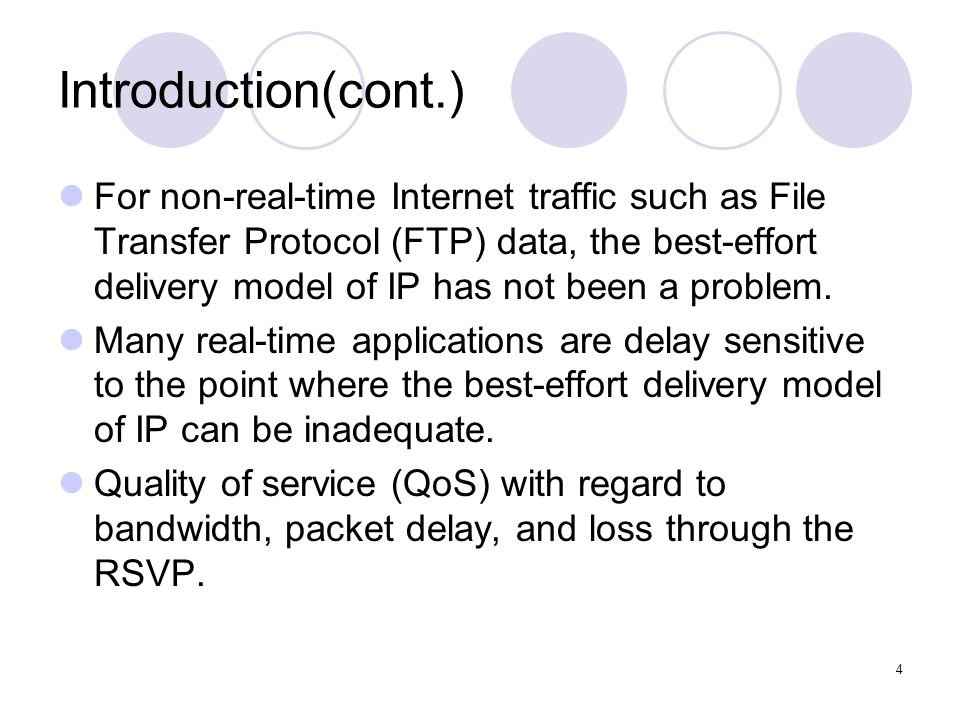 4 Introduction(cont.) For non-real-time Internet traffic such as File Transfer Protocol (FTP) data, the best-effort delivery model of IP has not been a problem.