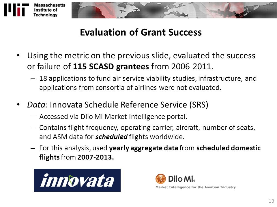 Evaluation of Grant Success Using the metric on the previous slide, evaluated the success or failure of 115 SCASD grantees from 2006-2011.