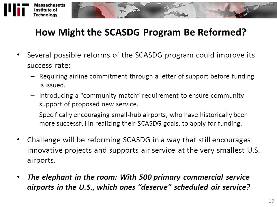 How Might the SCASDG Program Be Reformed.