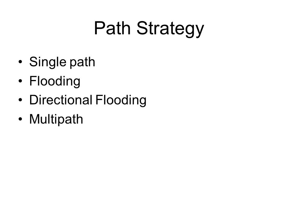 Path Strategy Single path Flooding Directional Flooding Multipath