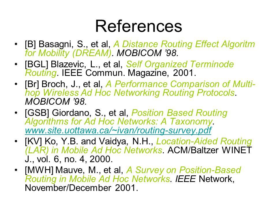References [B] Basagni, S., et al, A Distance Routing Effect Algoritm for Mobility (DREAM). MOBICOM '98. [BGL] Blazevic, L., et al, Self Organized Ter