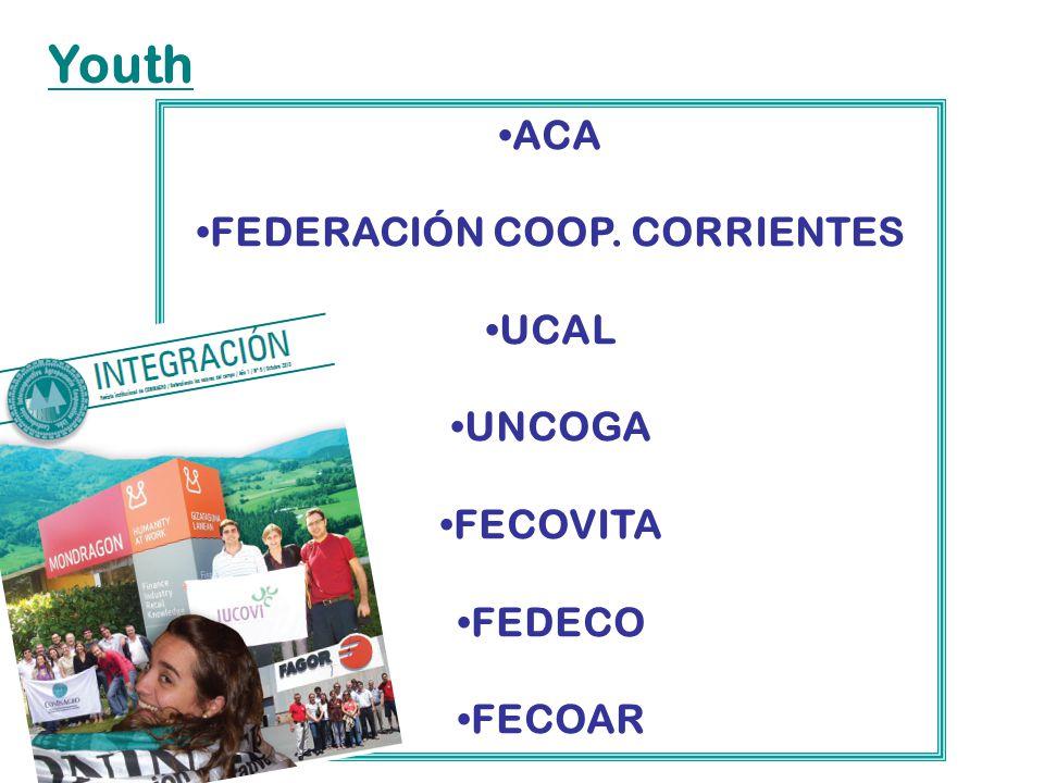 ACA FEDERACIÓN COOP. CORRIENTES UCAL UNCOGA FECOVITA FEDECO FECOAR Youth