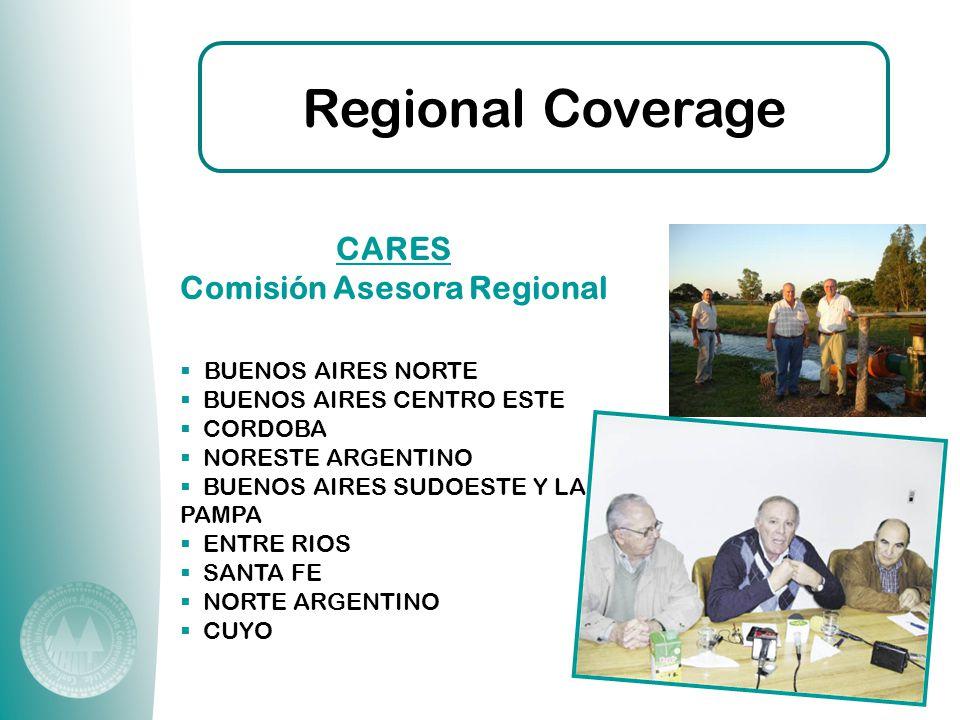  BUENOS AIRES NORTE  BUENOS AIRES CENTRO ESTE  CORDOBA  NORESTE ARGENTINO  BUENOS AIRES SUDOESTE Y LA PAMPA  ENTRE RIOS  SANTA FE  NORTE ARGENTINO  CUYO Regional Coverage CARES Comisión Asesora Regional