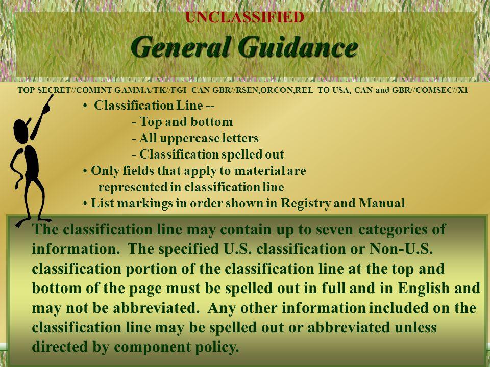 UNCLASSIFIED 14 Sample Markings SECRET//NOFORN,PROPIN//20051015 TOP SECRET//TK/RESEN//X1 //NATO SECRET//X5 TOP SECRET//COMINT-GAMMA/REL TO USA AND GBR